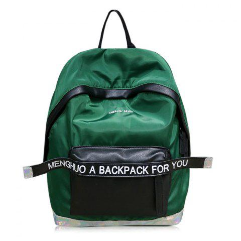 Nylon Color Block Letter Backpack - DEEP GREEN