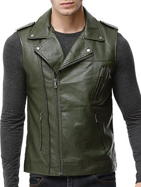 Asymmetrical Zip Epaulet Faux Leather Vest - ARMY GREEN XL