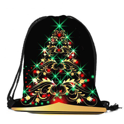Flower Tree Pattern Christmas Candy Bag Drawstring Backpack - COLORFUL