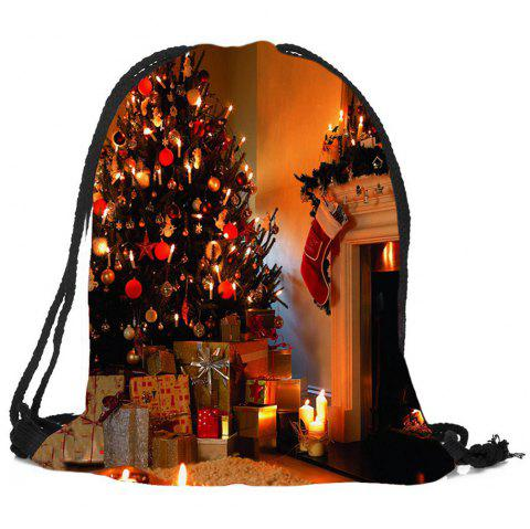 Fireplace Tree Pattern Christmas Candy Bag Drawstring Backpack - COLORFUL