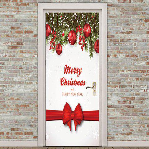 Environmental Removable Christmas Bow Ribbon Pattern Door Stickers - COLORFUL 38.5*200CM*2PCS