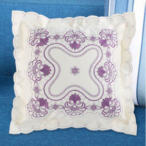 Embroidered Polyester Decorative Throw Pillowcase - PURPLE W18 INCH * L18 INCH