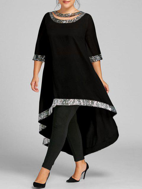 Plus Size Sequined Hem High Low Dress - BLACK XL