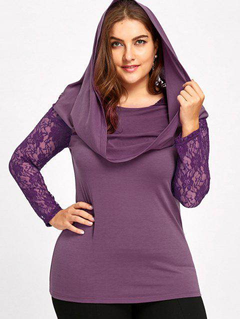 Plus Size Sheer Lace Insert Hoodie - PURPLE XL
