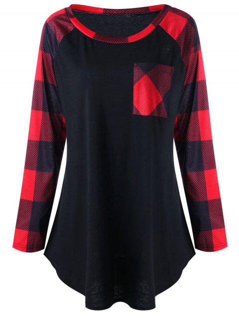 Plus Size Single Pocket Plaid T-shirt - RED 2XL