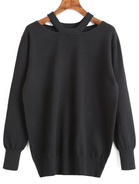 Cut Out Tunic Sweater - BLACK S