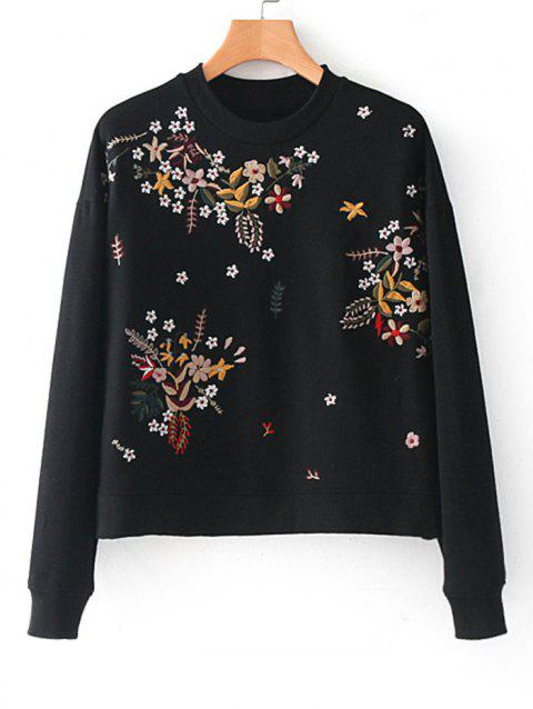 Floral Embroidere Drop Shoulder Sweatshirt - BLACK L