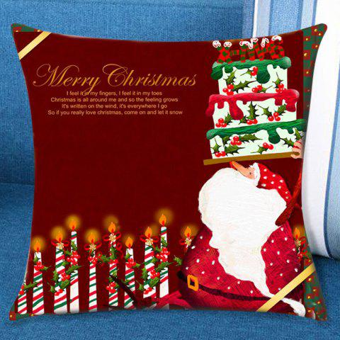 Santa Claus Birthday Cake Pattern Pillow Case - COLORFUL W18 INCH * L18 INCH