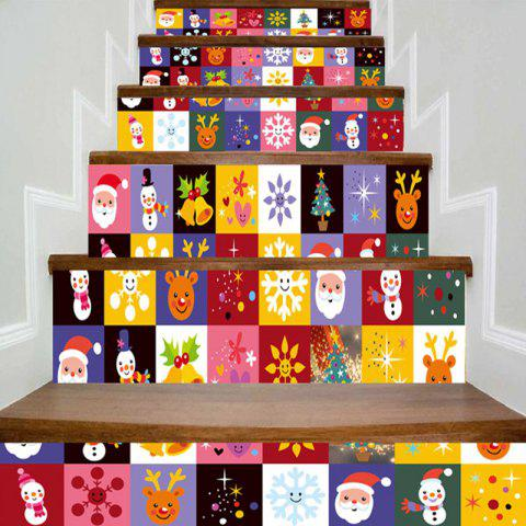 Christmas Elements Pattern Decorative DIY Stair Stickers - COLORFUL 100*18CM*6PCS