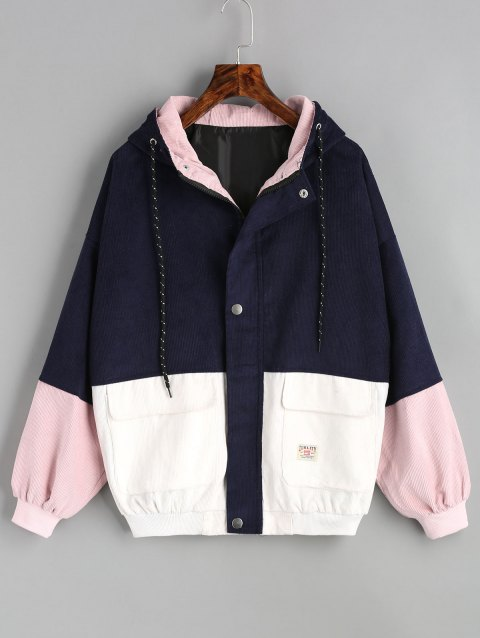 Color Block Hooded Corduroy Jacket - PURPLISH BLUE L