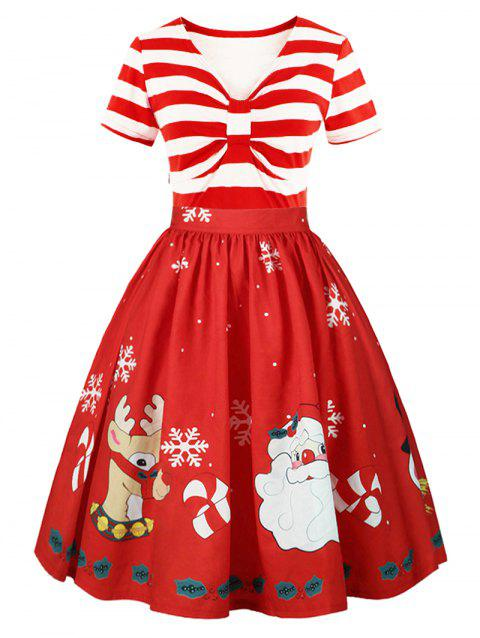 Christmas Panel Plus Size Flared Dress - RED 2XL