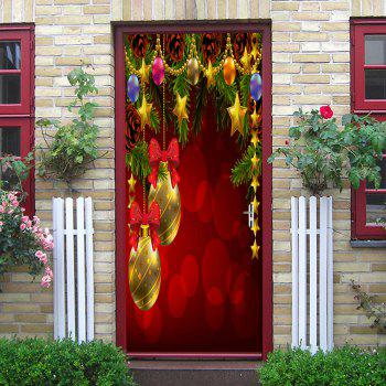 Christmas Baubles Flowers Pattern Door Stickers - COLORMIX 38.5*200CM*2PCS