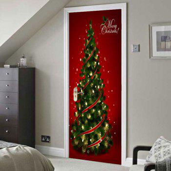 Environmental Removable Christmas Tree Printed Door Stickers - RED/GREEN 38.5*200CM*2PCS