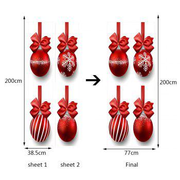 Environmental Removable Christmas Balls and Bowknots Printed Door Stickers - RED 38.5*200CM*2PCS