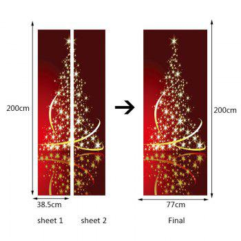 Environmental Removable Starlight Christmas Tree Printed Door Stickers - RED 38.5*200CM*2PCS
