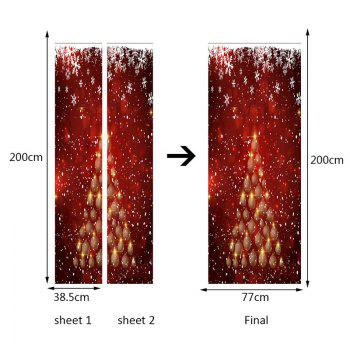 Environmental Removable Christmas Ball Tree Printed Door Stickers - RED 38.5*200CM*2PCS
