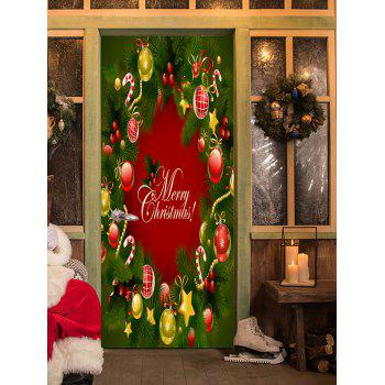 Christmas Pine Ornaments Pattern Door Stickers - COLORMIX 38.5*200CM*2PCS
