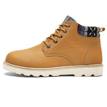Artificial Leather Printed Trim Chukka Boot - YELLOW 42