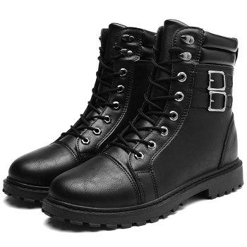 Lace Up Dual-buckle Combat Boots - BLACK 41