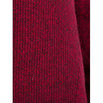 Knitted Jacquard Open Front Cardigan - DEEP RED XL