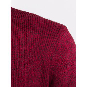 Knitted Jacquard Open Front Cardigan - DEEP RED 2XL