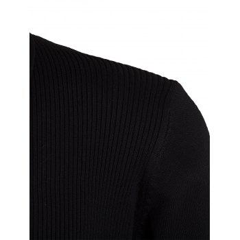 Knitted Jacquard Open Front Cardigan - BLACK 3XL