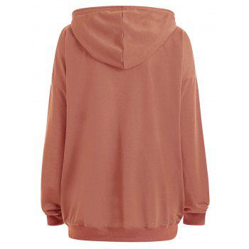 Plus Size  Plain Drop Shoulder Hoodie with Pocket - ORANGE YELLOW 5XL
