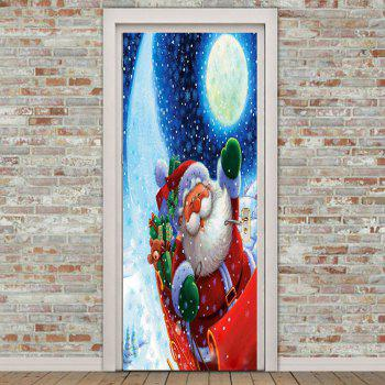 Environmental Removable Santa Claus with Moon Pattern Door Stickers - COLORFUL COLORFUL