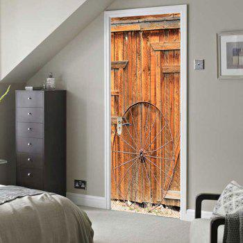 Wooden Door Wheel Printed Eco-friendly Door Stickers - WOOD 38.5*200CM*2PCS