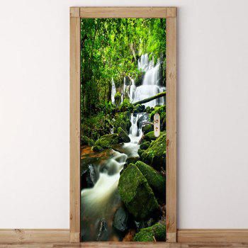 Mountains Forest Swift Water Print Eco-friendly Door Stickers - GREEN GREEN