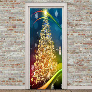 Environmental Removable Golden Christmas Tree Pattern Door Stickers - COLORFUL COLORFUL
