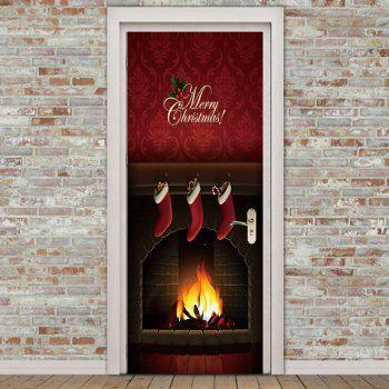 Christmas Fireplace Printed Pattern Environmental Removable Door Stickers - COLORFUL COLORFUL