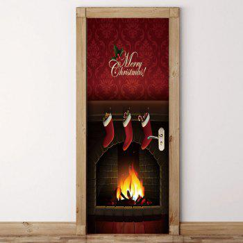 Christmas Fireplace Printed Pattern Environmental Removable Door Stickers - COLORFUL 38.5*200CM*2PCS