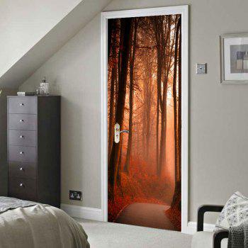 Maple Grove Pattern Environmental Removable Door Stickers - DARK RED 38.5*200CM*2PCS