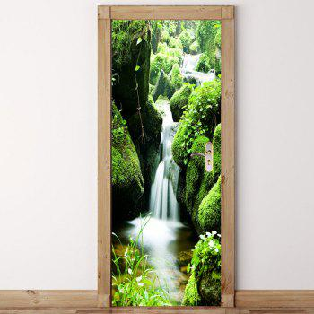 Mountain Waterfall Pattern Environmental Removable Door Stickers - GREEN GREEN