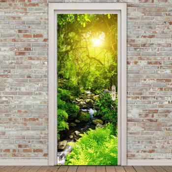 Forest Stream Pattern Environmental Removable Door Stickers - GREEN GREEN