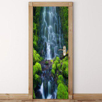 Waterfall Pattern Door Cover Stickers - GREEN GREEN