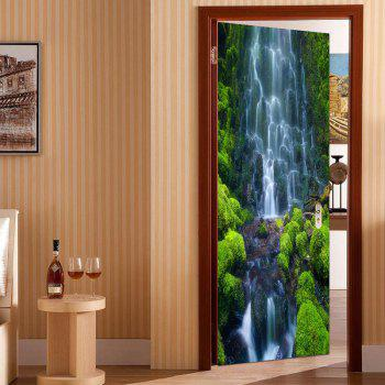 Waterfall Pattern Door Cover Stickers - GREEN 38.5*200CM*2PCS