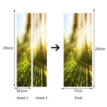 Sunshine Forest Pattern Door Art Stickers - GREEN 38.5*200CM*2PCS