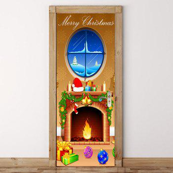 Merry Christmas Andiron Pattern Door Cover Stickers - COLORFUL COLORFUL