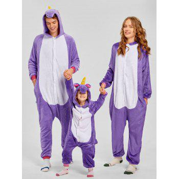 Cute Unicorn Matching Family Christmas Onesie Pajamas - PURPLE MOM L