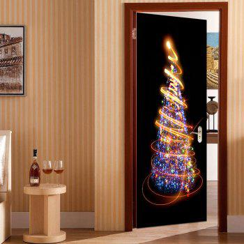 Christmas Tree Starlight Pattern Environmental Removable Door Stickers - COLORFUL COLORFUL