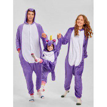 Cute Unicorn Matching Family Christmas Onesie Pajamas - PURPLE MOM XL