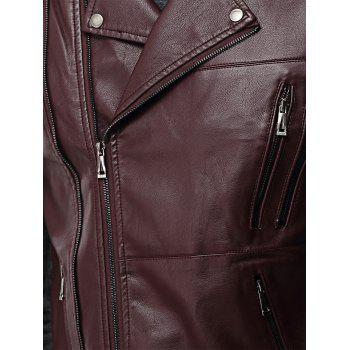 Asymmetrical Zip Epaulet Faux Leather Vest - WINE RED 2XL