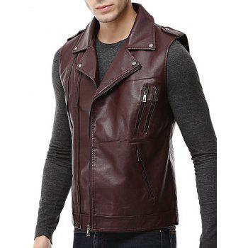 Asymmetrical Zip Epaulet Faux Leather Vest - WINE RED L