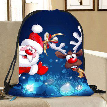 Santa Deer Pattern Christmas Candy Bag Drawstring Backpack - COLORFUL
