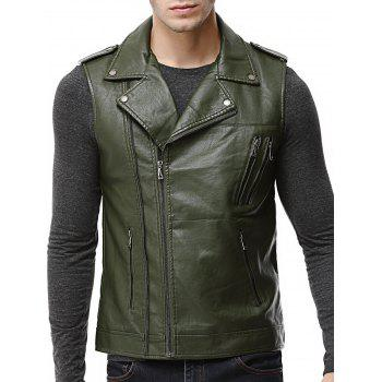 Asymmetrical Zip Epaulet Faux Leather Vest - ARMY GREEN ARMY GREEN