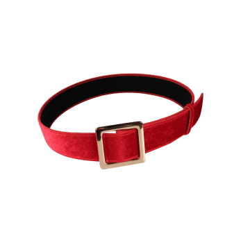 Metal Square Buckle Decorated Faux Suede Ladies Waist Belt - RED