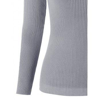 Scoop Neck Ribbed Lace Up Sweater - GRAY ONE SIZE