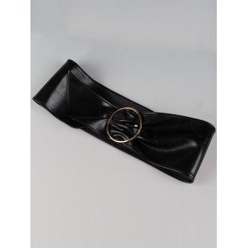 Metal Round Buckle Embellished Artificial Leather Wide Waist Belt - BLACK